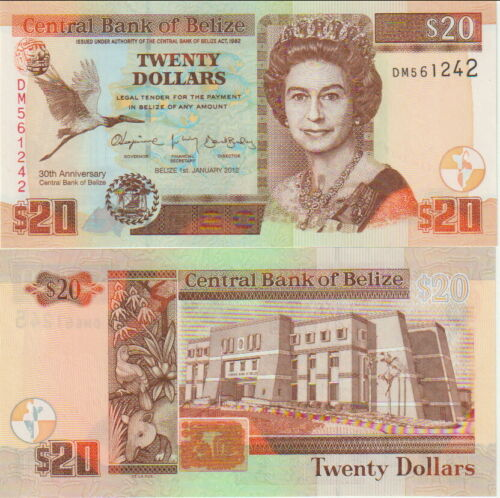 """Belize 20 Dollars Banknote 2012"""" 30th Aniversary"""" Uncirculated Condition Pick#72"""