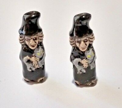 2 MINI Peruvian Ceramic Halloween Black Witch Grey Cat Focal Pendant Bead - Halloween Peru 2