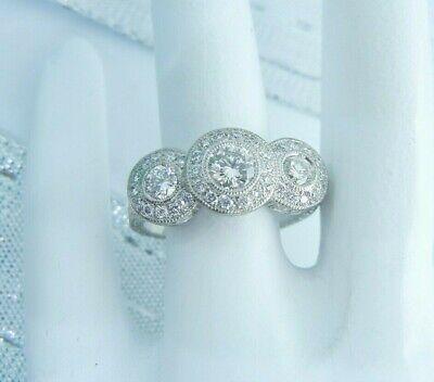 Diamond Palladium Hand Engraved Round 1.5 ctw Three Stone Engagement Ring  Palladium Engraved Ring