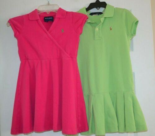 Lot of 2 Girls Ralph Lauren Polo Sport Dresses Pink Green size 5, 6X