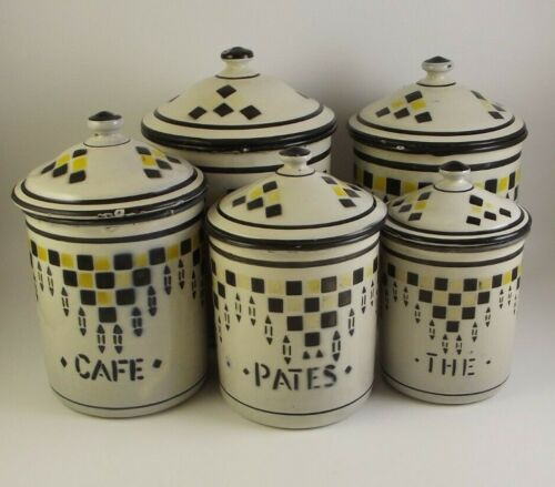 Vintage French Enamelware Kitchen Canisters Art Deco  (item#a6)