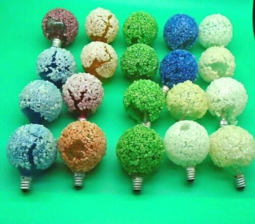 20 Vintage c-7 Lighted Ice/ Snowball Christmas Lights only no light cord lot #Q