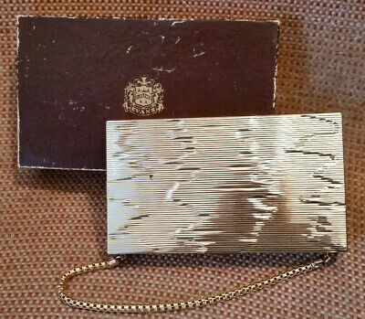 EVANS ELEGANCE GOLD TONE METAL CLUTCH PURSE/CIGARETTE CASE/MAKE UP BAG w/ BOX