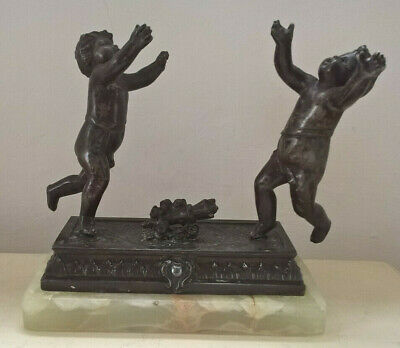 ANTIQUE SPELTER CHERUBS ON MARBLE ORNAMENT A/F