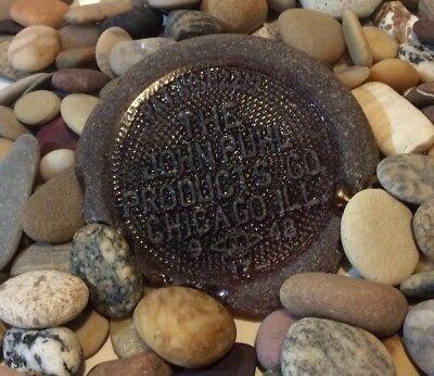 Large Rare Surf Tumbled Brown Sea Beach Glass Bottle Bottom John Puhl (Company Sea Glass)