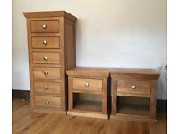 Stunning Solid Oak set, King size double bed frame with bedsides and cabinet!