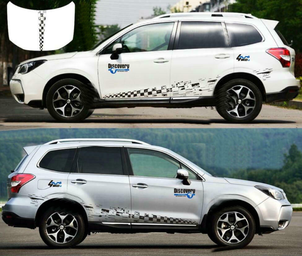 Details about graphics chequered flag sticker decal hood stripe for subaru forester rav4 cr v