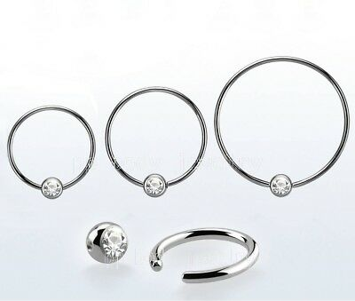 PAIR 316L Surgical Steel CZ Captive Bead Ring Nipple Ring Earring 3/4