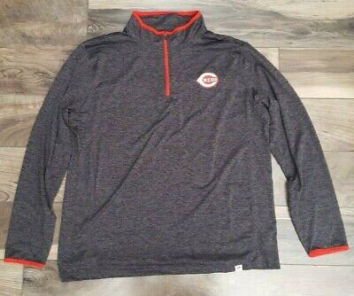 MLB Cincinnati Reds Size XL Pullover Jacket Lightweight Sweater Turtleneck Black