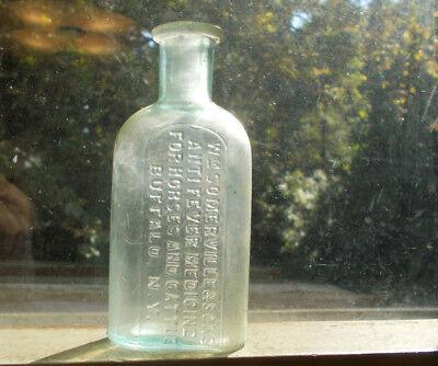 1880s SOMERVILLE & SONS ANTI FEVER MEDICINE FOR HORSES &CATTLE VETERINARY BOTTLE