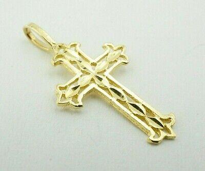 14K Yellow Gold Diamond Cut Filigree Cross Charm - 14k Diamond Cut Filigree Cross