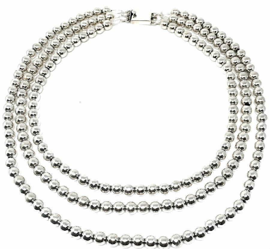 TAXCO MEXICAN 925 STERLING SILVER TRIPLE STRAND BEADED