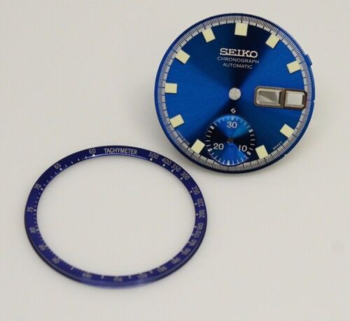 Dial  for Vintage SEIKO Chronograph 6139-6012 6010 6011 Blue with dial Ring
