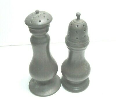 2 X ANTIQUE PEWTER SALT SHAKERS  1800'S