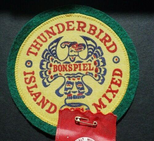 RARE Curling Patch & Ribbon - Thunderbird Bonspiel Island Mixed 1971