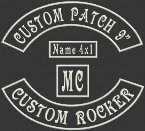 """Set of 4 Piece Custom  Embroidered Rocker Patch, Tag, Label, Badge 9"""""""