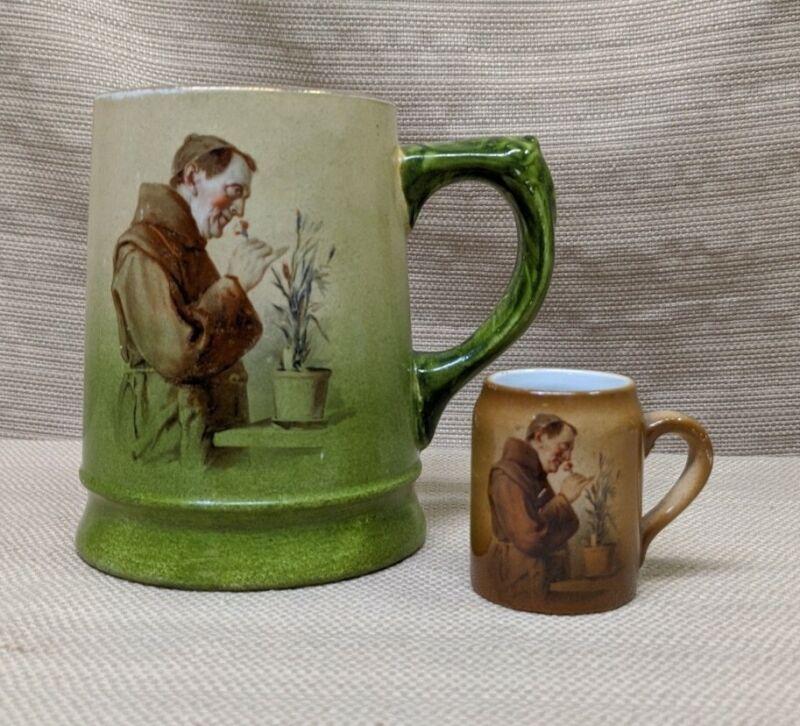 Vintage Monk Friar Smelling Flowers Tankard Stein Mug Shot Lot of 2 Green Brown