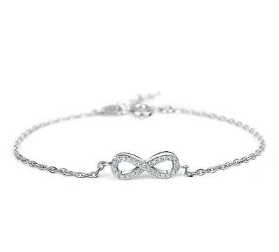 Women's 925 Sterling Silver Cubic Zirconia Charm Love Infinity Cuff Bracelet