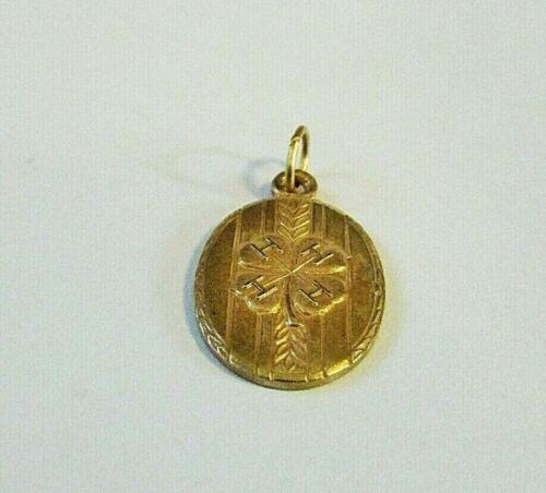 Vintage Antique Engraved Oval Gold 4H Clover Medal Charm