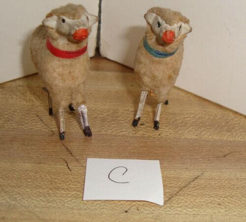 "Two 2""+ Wooly GERMAN Putz Figures SHEEP LAMBS Manger Creche Nativity Antique C"