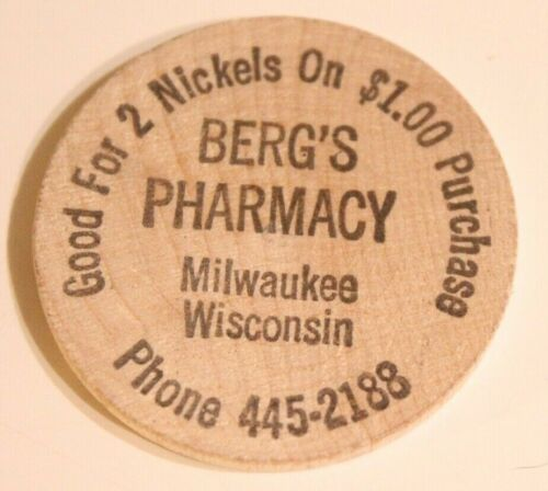 Vintage Milwaukee Misconsin Wooden Nickel Berg