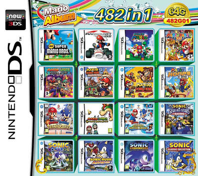 482 in 1 Game Cartridge Mario Multicart for Nintendo DS Lite NDSi 3DS 2DS XL LL