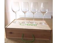 WATERFORD CRYSTAL LARGE WINE GLASS SET OF 4 WOOD CASE LIGHT RED WINE RRP £225