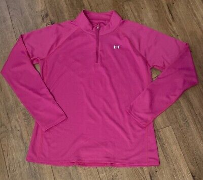Under Armour SZ  Women's Large Pink All season Long Sleeve Half Zip Top Season Long Sleeve Top