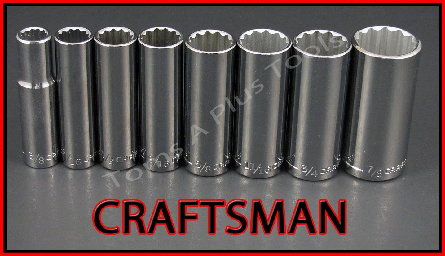 CRAFTSMAN HAND TOOLS 8pc LOT 3/8 Dr 12 pt DEEP SAE ratchet wrench