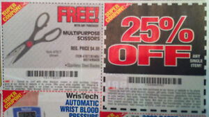 40 COUPONS (20 ea.) HARBOR FREIGHT 25% OFF & FREE MULTIPURPOSE SCISSORS  9/12/13