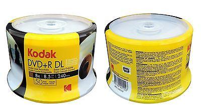 100 KODAK 8X Blank DVD+R DL Dual Double Layer White Inkjet Printable 8.5 GB Disc