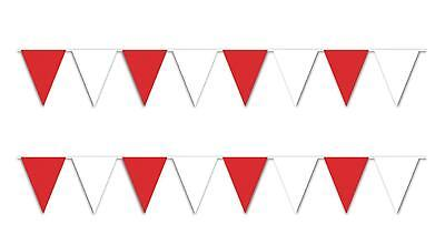 Outdoor Pennant Banner (30 ft heavy duty Outdoor All Weather red white Pennant Banner flags)