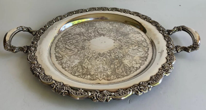 "Vintage Oneida USA Silver Plate Round Platter With Handles 15"" Rose"
