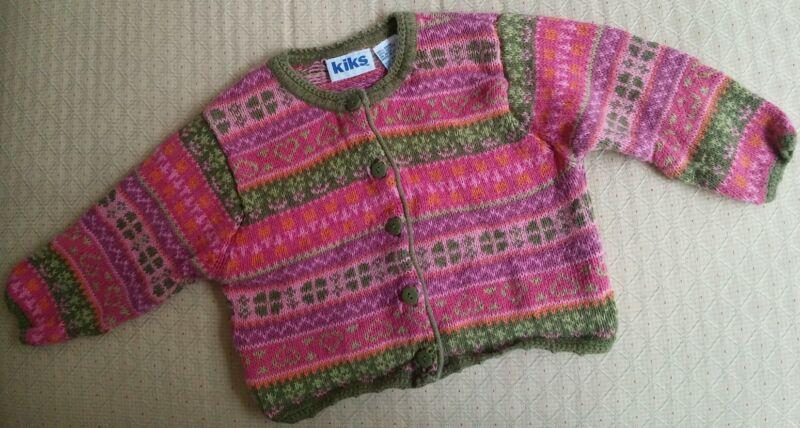 Kiks Baby Girls Button-Up Knit Cardigan Sweater Sz. 12 Months