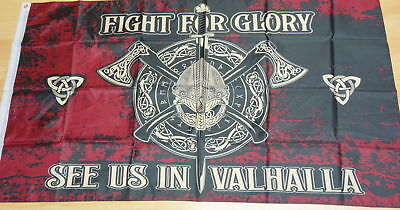 184 FAHNE/FLAGGE Wikinger  Fight for Glory, See us in Valhalla  90x150