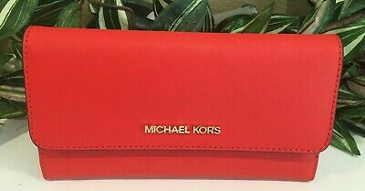 MICHAEL KORS JET SET TRAVEL LARGE TRIFOLD WALLET CLUTCH MANDARIN ORANGE LEATHER