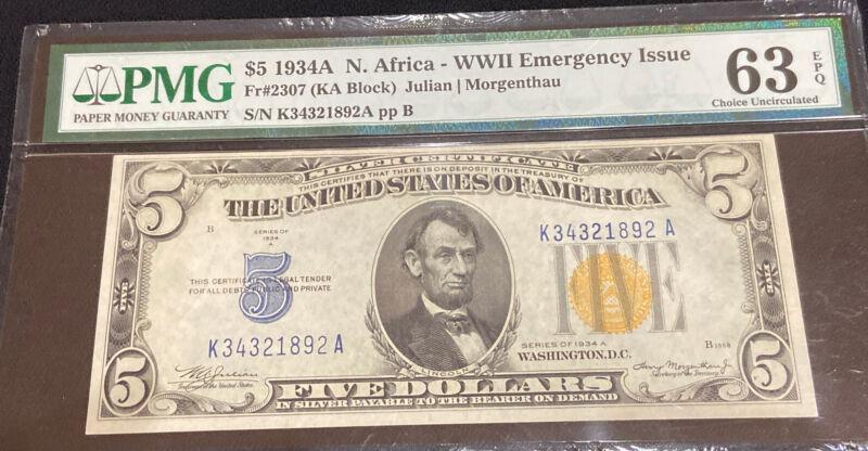 $5 1934A N. Africa - WW2 Emergency Issue PMG 63