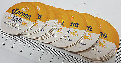 """Package 25 new Corona Light Beer 4"""" diameter double sided coasters for your bar"""
