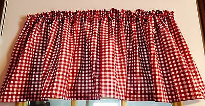 "Red Gingham on White Pioneer Country Woman Style Curtain Valance 43""W x 15""L"