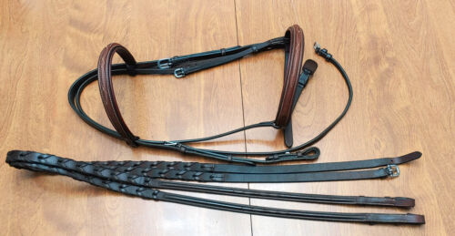 Crosby, fancy padded wide noseband bridle + reins, brown, horse