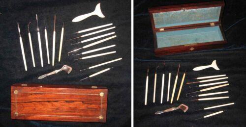 Wood Cased 16 diff EYE SURGERY/OPTHEMOLOGY TOOLS by Tiemann-Otto-Meyrowitz c1860