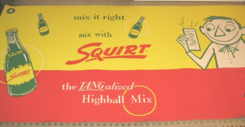 """1956 SQUIRT Soft Drink 60"""" x 30"""" Ribbed Paper Store Display Sign - NOS - Nice!"""