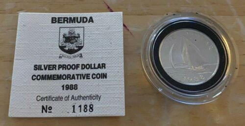 1988 BERMUDA SILVER DOLLAR Launch of New Dollar Coin KM#56a PROOF