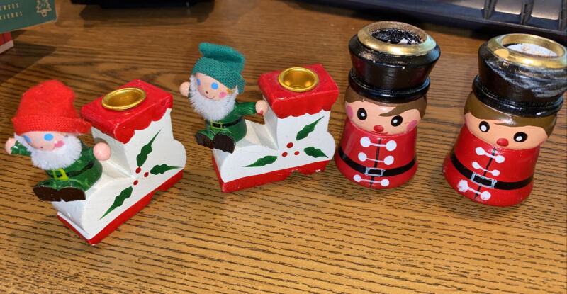 2 Sets of Vintage Painted Wood Toy Soldiers & Elf Candle Stick Holders Christmas