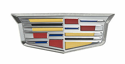"""Cadillac New Style Crest 4 3/4"""" Fender Grille Grill Adhesive Chrome Emblem"""