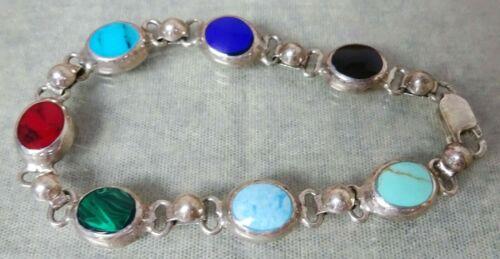 "Vintage Southwest Sterling Silver Bracelet With Multi Stone Cabochon 7 3/8"" Long"