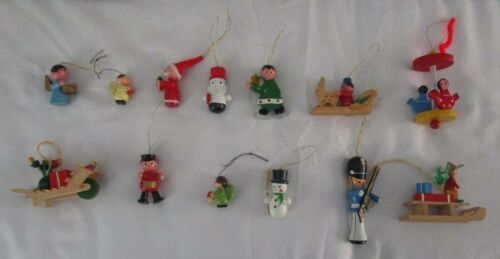 Thirteen (13) Vintage Wooden German Christmas Tree Mini Ornaments
