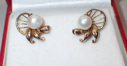 Estate 14K Yellow Gold 6MM White Pearl Post Earrings in Ornate Setting 1960
