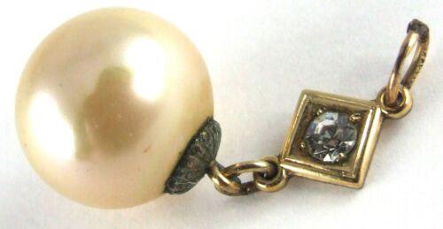 Antique Edwardian 1900s Gilt Faux PEARL Drop Droplet PENDANT
