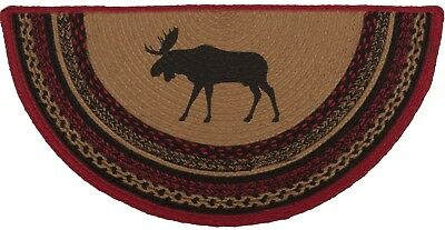 Braided Moose Hearth Rug Red Black Half-Circle Country Lodge